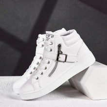 High-top skateboarding shoes off-white sneakers skateboard men white brand mens pu leather