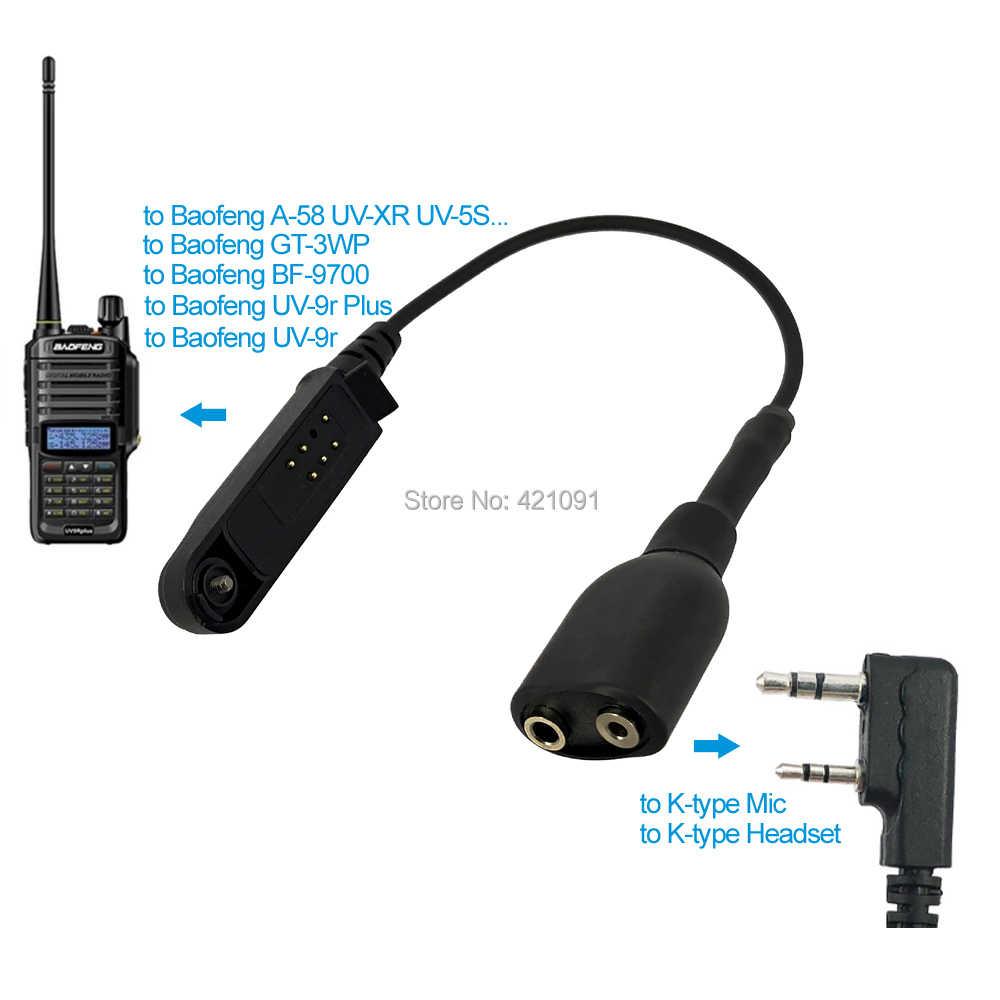 Radio Baofeng UV-9R Plus Talkie-Walkie Adapter Kabel om K 2 Pin Geschikt voor UV-5R BF-888s Walkie Talkie Headset mic Accessorie