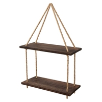 Practical Decorative Storage Rack Storage Box Retro 2 Layer Wooden Frame Multi-Purpose Rack Display Stand