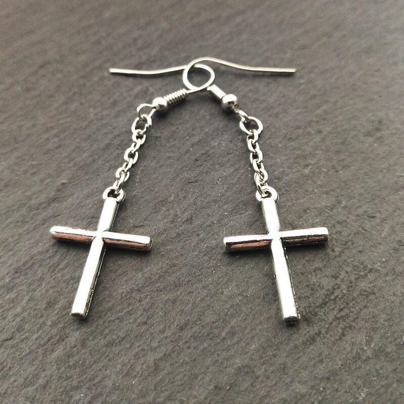 2 accoppiamenti Graziosa Argento Croce Ciondolo Pendaglio Orecchini Pendenti, Tribale Dei Monili, Regali per lei, Boho Orecchini