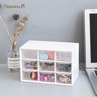 Diniwell mini caixa de plástico para armazenamento de joias  portátil  organizador para gavetas  armários  materiais de escritório