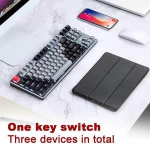 Image 4 - RF912D 87 Tasten Tastatur Backlit bluetooth Drahtlose Verdrahtete Wiederaufladbare Gaming Tastatur Ergonomische Für PC Laptop Tablet