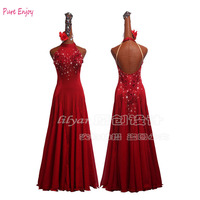 Ballroom Dance Competition Dresses Red Long Dancing Dress Stage Performing Outfit Waltz Dress Tango Wear Ballroom Dress