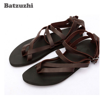 2020 Rome Men Shoes SUMMER Sandal Shoes for Men Beach Genuine Leather Sandals Black&Brown Gladiator Sandalias Mujer, Big Size 46