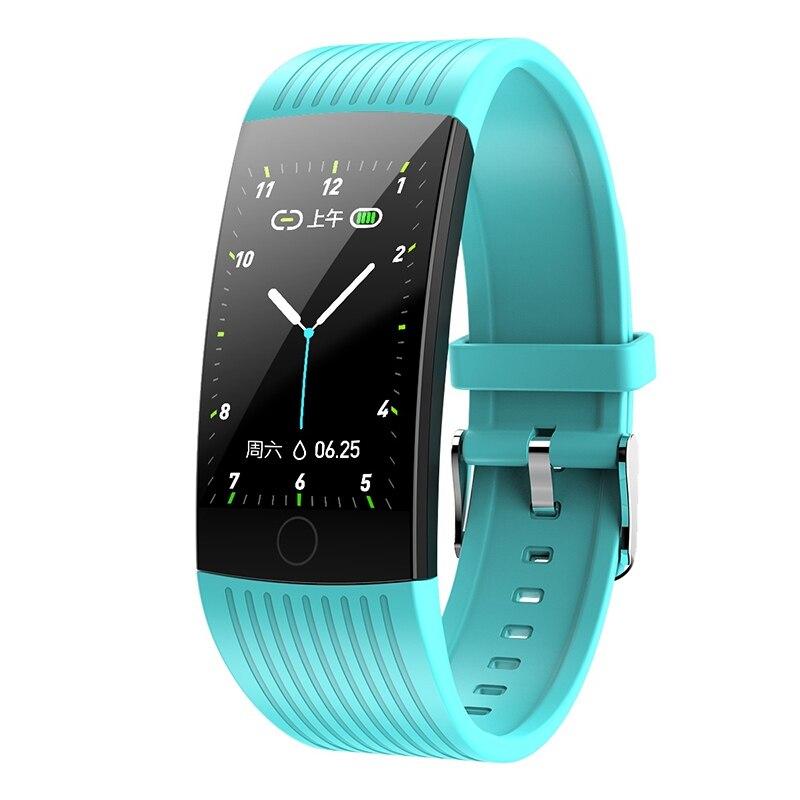 Фитнес-трекер монитор артериального давления Браслет Водонепроницаемый сенсорный экран ультра-тонкий смарт-часы браслет для iOS Android - Цвет: Green