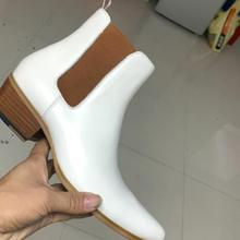 Genuine Leather white Newest 2020 Elastic band Chelsea Boots