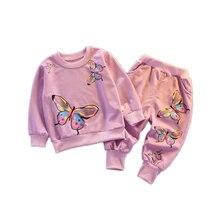 Новый весенне осенний костюм для маленьких девочек детская хлопковая