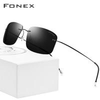 Titanium Alloy Rimless Polarized Sunglasses Men Brand Designer Screwless Frameless Square Sun Glasses for Women 20007