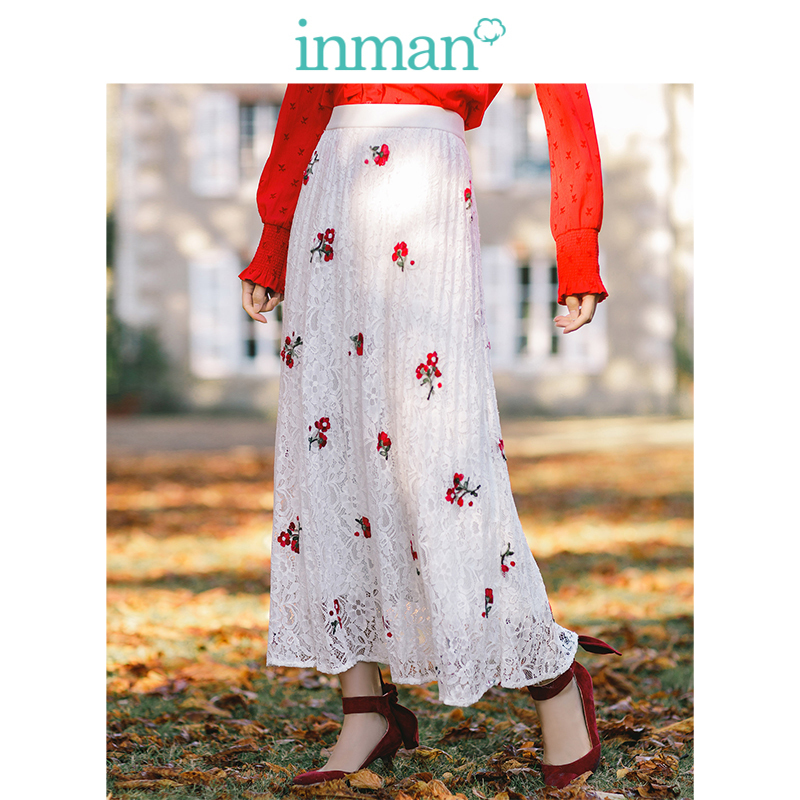 INMAN 2019 New Arrival High Waist Slim Retro Lace Embroidery Holiday Style A-line Women Long Skirt