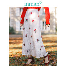 INMAN 2019 New Arrival High Waist Slim Retro Lace Embroidery Holiday Style A-line Women Long Skirt(China)