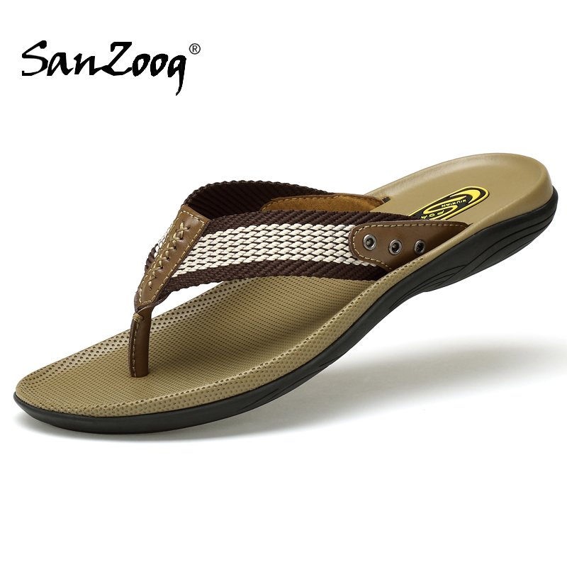 Genuine Leather Summer Flat Mens Flip Flops Slippers Flip Flop Sleepers Chanclas De Hombre Infradito Uomo Chancletas Sandalias