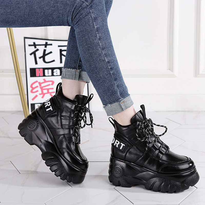SWONCO Genuine Leather Shoes Sneakers Women Casual Shoes Black 2019 Autumn/spring Female Fashion Sneakers Platform Chunky Heel