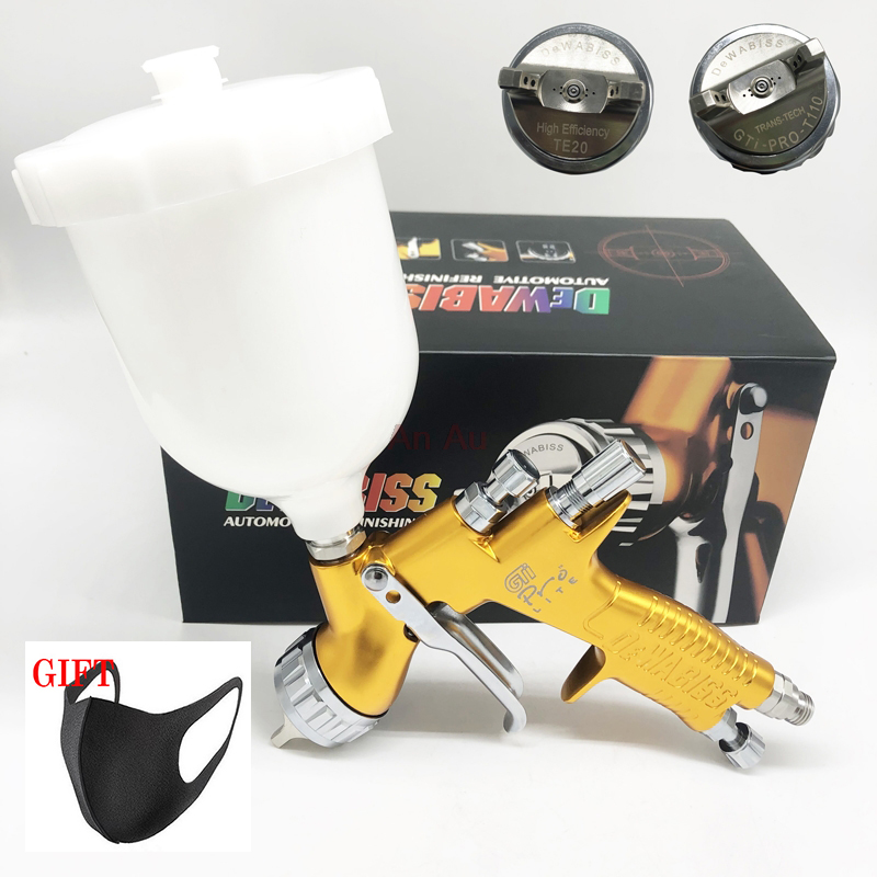 Spray Gun TE20/T110 1.3/1.8mm HVLP Airless Spray Painting Car Paint Airbrush Tool For Water Based High Quality With Bottle