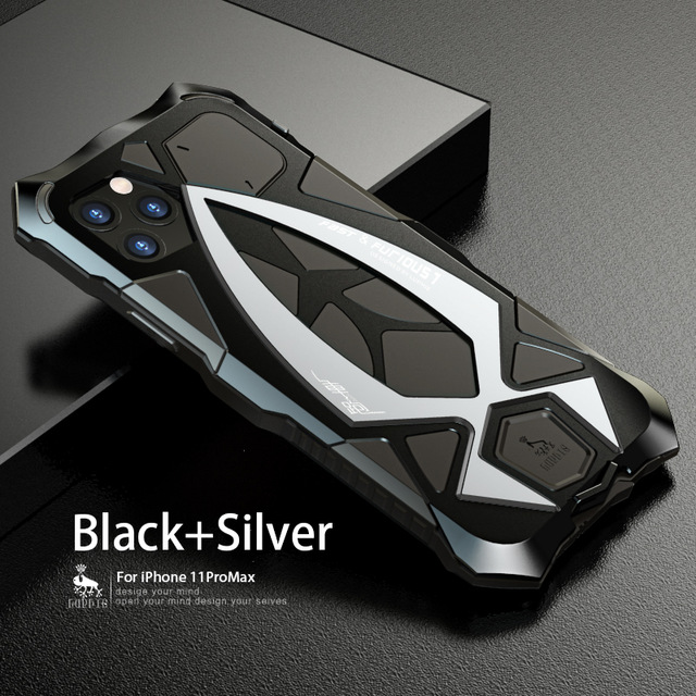 For iPhone 11 Case Shockproof Sports Car Metal Aluminum Outdoor Armor Anti-Knock Cover Case Full Body
