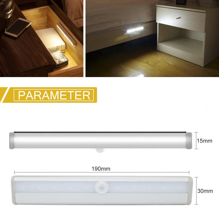 LED Under Cabinet Light WithPIR Motion Sensor Battery Operated LED Closets Lights Lighting Night Lamp For Wardrobe Bathroom D4