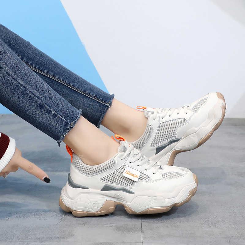 Phụ Nữ Platform Chunky Giày Mùa Xuân 2020 Thời Trang Hàn Quốc Phối Ren Giày Người Phụ Nữ Thoáng Khí Cũ Bố Giày Lưu Hóa Giày