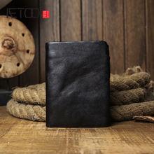 Мужской короткий кожаный бумажник aetoo повседневный кошелек