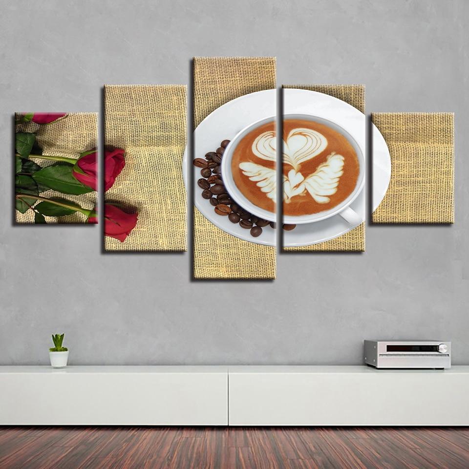 Ангел крылья кофе и розы холст hd ПЕЧАТЬ Плакаты домашний декор