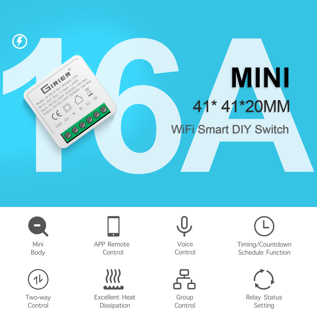 16A Mini Smart Wifi DIY Switch Supports 2 Way Control, Smart Home Automation Module, Works with Alexa Google Home Smart Life App 2