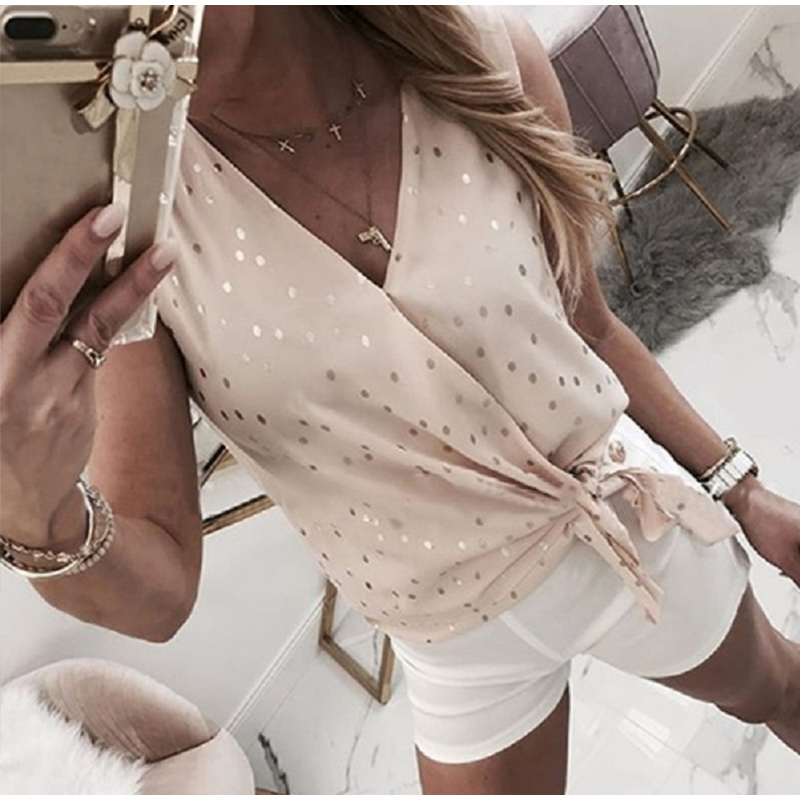 Women Dot Print V-Collar Solid Blouse Female Loose  Lace Up Sleeveless Patchwork Tops 2020 Summer Fashion Casual Streetwear