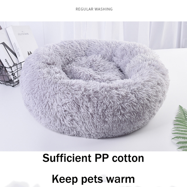 Fluffy Pet Dog Bed Soft Round Dog Long Plush Kennel For Dogs Washable Puppy Cat Bed Cushion Winter Warm Sofa House Accessories 3