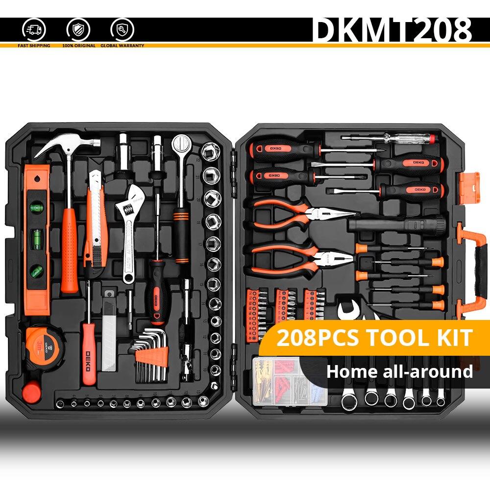 Набор ручных инструментов DEKO, универсальный набор ручных инструментов для домашнего ремонта с пластиковым ящиком для инструментов, чехол для хранения, торцевой ключ, отвертка, нож - Цвет: DKMT208