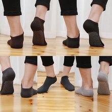 Chaussettes de sol antidérapantes en coton pour hommes, 1 paire, avec poignées, respirantes, pour Yoga, Pilates, Fitness