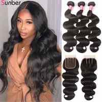 Sunber Hair Peruvian Body Wave Hair Bundles With Closure High Ratio Remy Hair 3/4 Bundles With Closure Double Machine Hair Weft