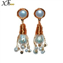 XF800 Pearl Earrings Jewlery Real Freshwater Pearl Drop Earrings Wedding Party Gift For Women Girl E346(China)