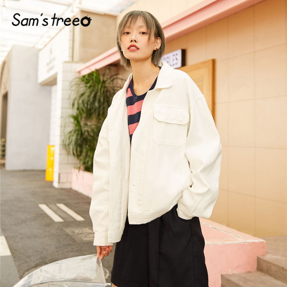 SAM'S TREE White Solid Minimalist Loose Casual Cowboy Coat Women 2020 Spring Pure Long Sleeve Korean Style Ladies   Basic   Outwears