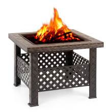 iKayaa Backyard Fire Pit Garden Square Firepit Stove Barbecue Brazier Outdoor Fireplace with Firepit Cover & Poker + BBQ Grill