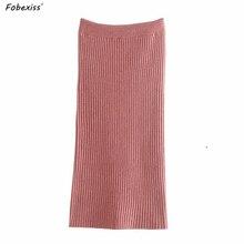 Pink Pencil Skirt Women Winter 2019 High Waist Elastic Band Knitted Skirt Dress Bandage Straight Skirt Ribbed Midi Skirt Women