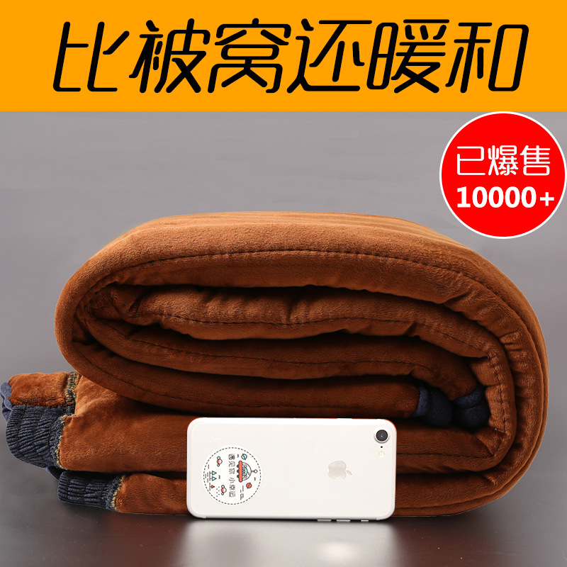 Old Man Cotton-padded Trousers Men's Camel Fiber Winter Brushed And Thick Loose-Fit Middle Aged And Elderly People Grandpa Dad W