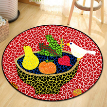 Colorful Polka Dot Pumpkin Round Carpet Living Room Abstract Illustration Rug  Floor Mat In The Room Janpese Carpet Washable