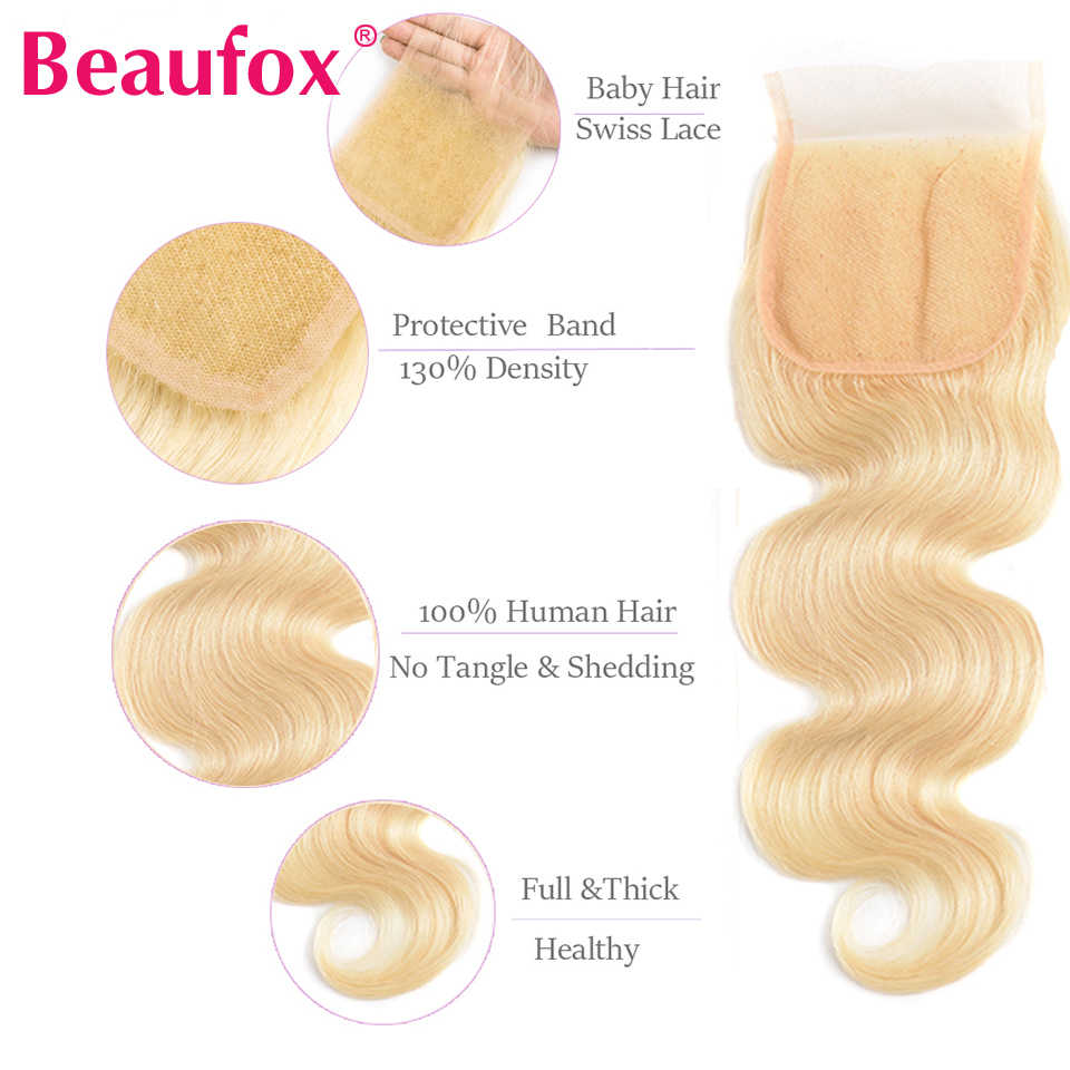Beaufox 613 пучки с закрытием блонд человеческие волосы пучки бразильские волнистые 4 пучки с закрытием Remy 613 блонд шиньон