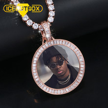 New Custom Photo Memory Medallions Solid Pendant Necklace Square Crystal Baguette Round Hip Hop Jewelry Men's Personalized Chain(China)