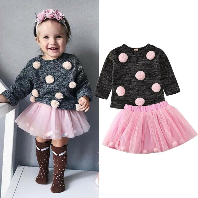 Infantile Del Bambino del bambino Della Ragazza In Maglia Pompon Maglione Magliette e camicette Dell'abito di Sfera di Tulle del Pannello Esterno Dei Bambini Autunno Inverno Delle Ragazze Vestiti Vestito