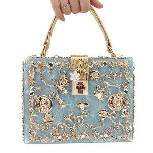 Image 2 - אקריליק תיבת ערב שקיות נשים יוקרה פרחים מנעול יהלומים אבן דפוס קטן כיכר מצמד כתף תיק ערב נשי