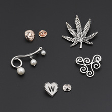HelloMissRetro creative new brooch pearl hang card mask geometry love lettering Corsage accessories fashion jewelry