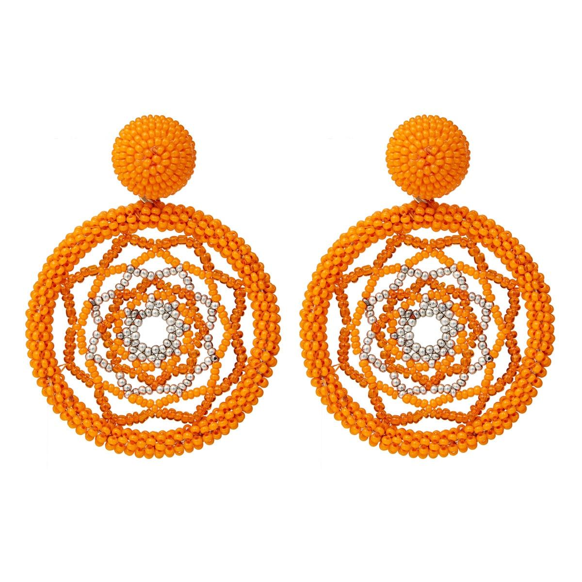 2019 New Round Hollow Beaded Earrings For Women Geometric Pattern Eyes Handmade Drop Earrings Bohemian Statement Trendy Jewelry in Drop Earrings from Jewelry Accessories