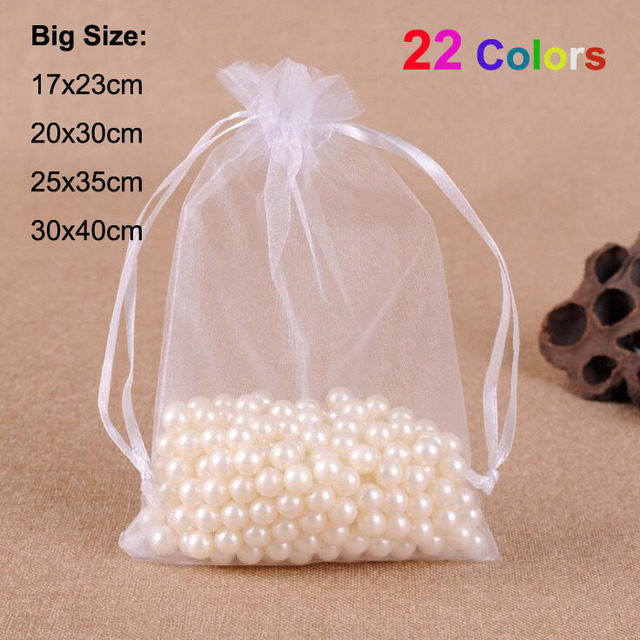100/PCS 17x23, 20x30, 25x35, 30x40cm Big Size Drawstring Organza Pouches For Wedding Party Christmas Gift Packaging Bags