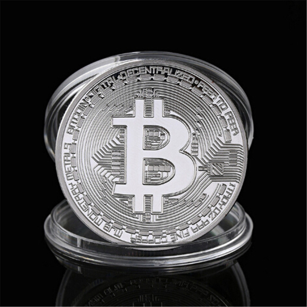Gold Silver Plated Bitcoin Collectible BTC Coin Pirate Treasure Props Toys For Halloween Party-4