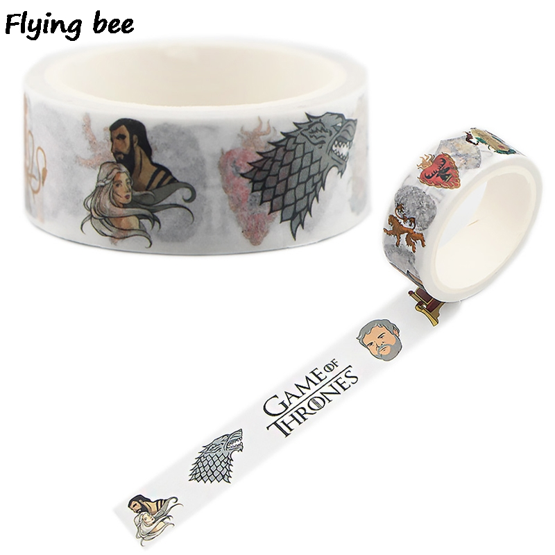 Flyingbee 15mmX5m Game Of Thrones Washi Tape Paper DIY Decorative Adhesive Tape Stationery Cool Masking Tapes Supplies X0502