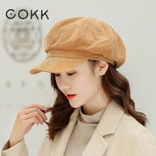Octagonal Hat Beret-Hats Vintage Women Newsboy-Cap Winter COKK Autumn for Korean Retro