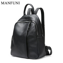 Fashion Women Backpack 100% Genuine Leather Preppy Style Girl's Schoolbag Black Holiday Knapsack Lady Casual Travel Bag Notebook preppy style genuine leather brief grey and black student backpack soft cow leather zipper fashion lady double shoulder bag gift