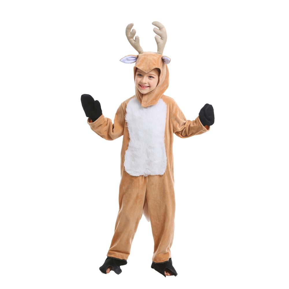 Children Elk Costume Halloween Party Carnival Cosplay Fancy Dress Kids Reindeer Costume For Boys Girls Animal Mascot Clothing