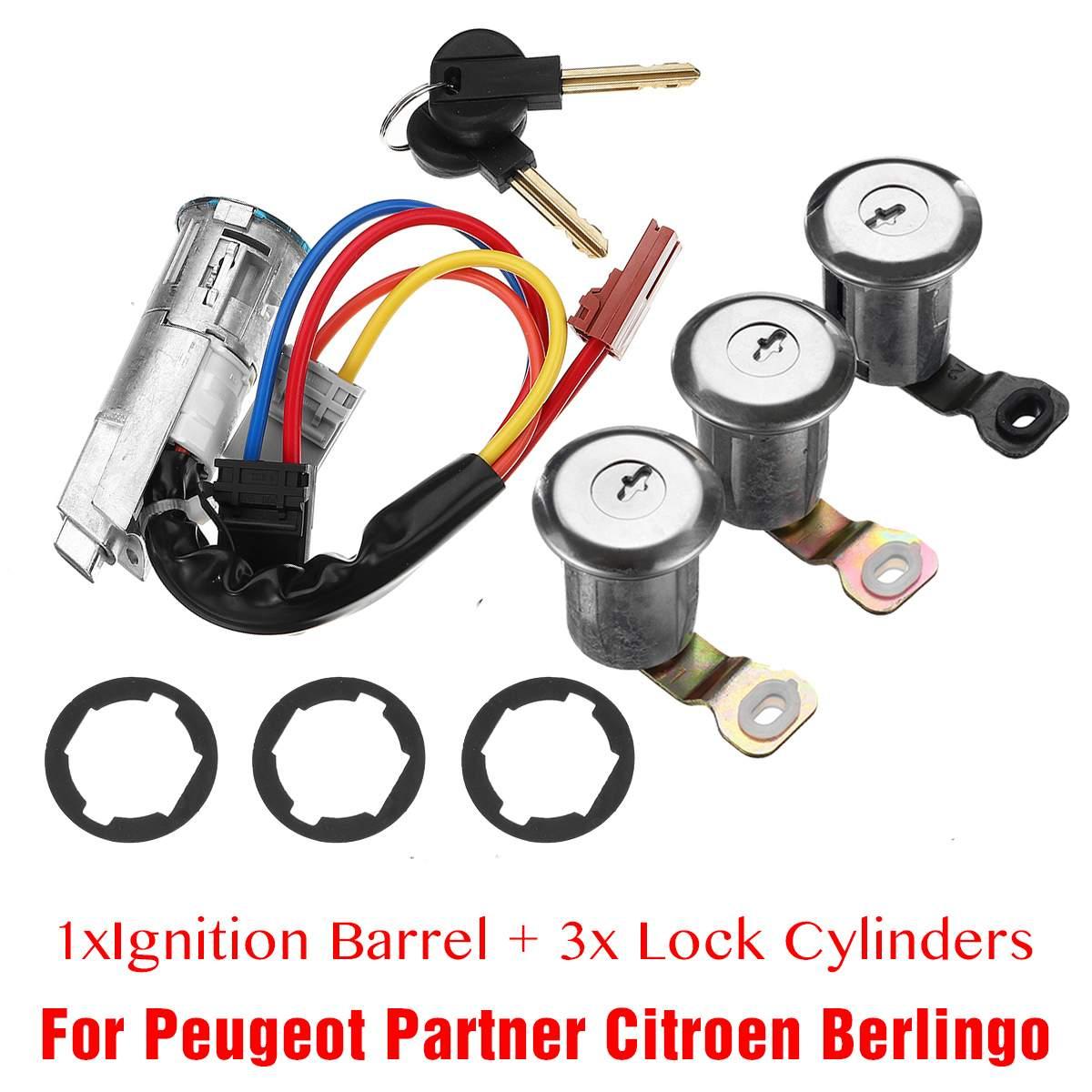 1 jeu avant arrière 3 serrures de porte + 1 canon d'allumage 96244156 252522 9170. G3 pour Peugeot Partner pour Citroen Berlingo 1996-2008