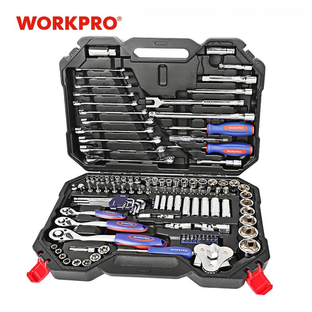 Juego de Herramientas de PC WORKPRO 123, herramientas de mano para reparación de coches, llave de trinquete, juego de llaves, Kits profesionales de herramienta de reparación de automóviles