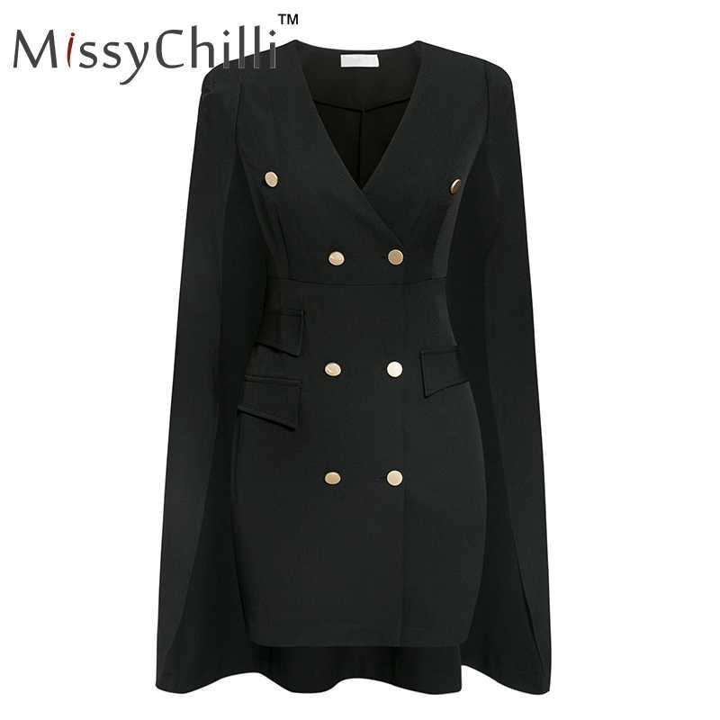 MissyChilli 黒ファッションマントブレザーの女性のエレガントな v ネックの冬ショートオフィスドレスセクシーな秋岬ブレザーファム 2019