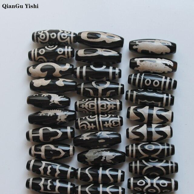 2 pièces un lot 2019 nouveau style cornaline Agate 10*28mm motif différent tibétain Dzi perles pour la fabrication de bijoux à bricoler soi-même ovale Grade AAA